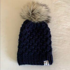 Navy Knit Pom Pom hat